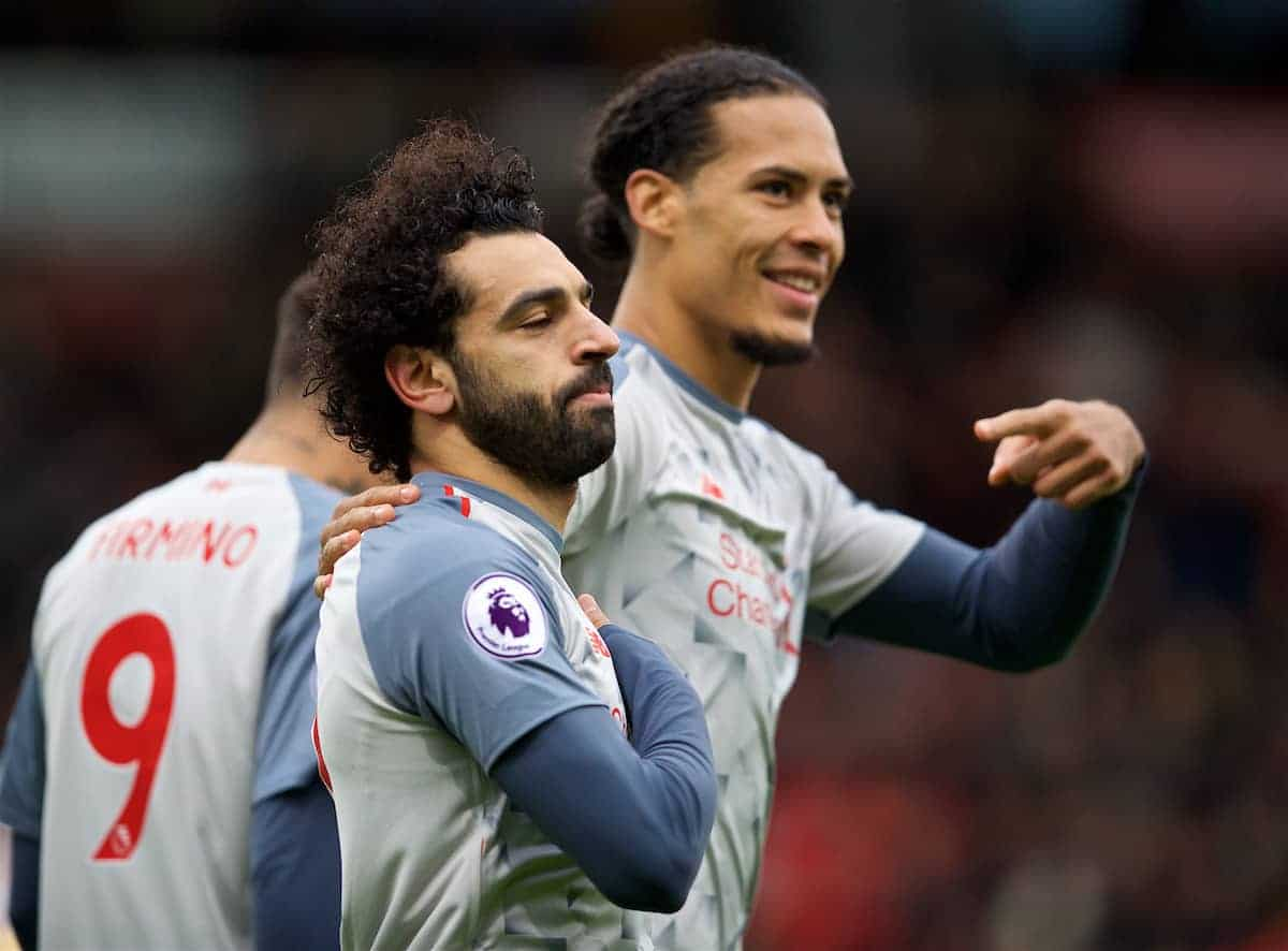 BOURNEMOUTH, ENGLAND - Saturday, December 8, 2018: Liverpool's Mohamed Salah celebrates scoring the second goal with team-mate Virgil van Dijk during the FA Premier League match between AFC Bournemouth and Liverpool FC at the Vitality Stadium. (Pic by David Rawcliffe/Propaganda)