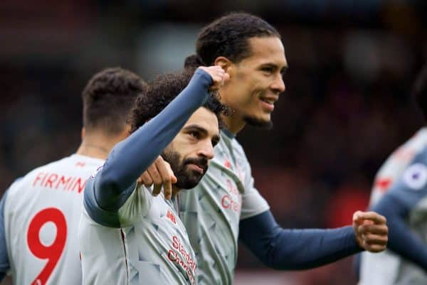 Liverpool's Mohamed Salah celebrates scoring the second goal with team-mate Virgil van Dijk during the FA Premier League match between AFC Bournemouth and Liverpool FC at the Vitality Stadium. (Pic by David Rawcliffe/Propaganda)