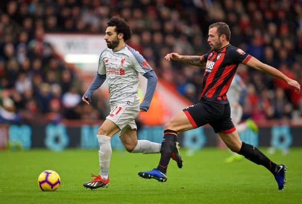 BOURNEMOUTH, ENGLAND - Saturday, December 8, 2018: Liverpool's Mohamed Salah on his way to score the second goal during the FA Premier League match between AFC Bournemouth and Liverpool FC at the Vitality Stadium. (Pic by David Rawcliffe/Propaganda)