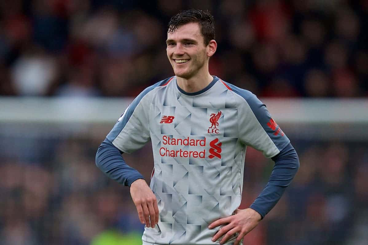 BOURNEMOUTH, ENGLAND - Saturday, December 8, 2018: Liverpool's Andy Robertson during the FA Premier League match between AFC Bournemouth and Liverpool FC at the Vitality Stadium. (Pic by David Rawcliffe/Propaganda)