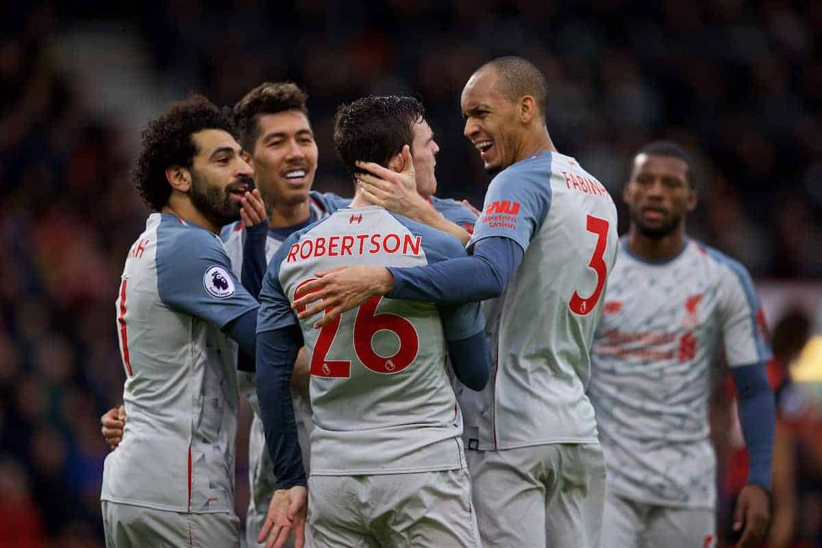 BOURNEMOUTH, ENGLAND - Saturday, December 8, 2018: Liverpool's Andy Robertson celebrates scoring the third goal with team-mates during the FA Premier League match between AFC Bournemouth and Liverpool FC at the Vitality Stadium. (Pic by David Rawcliffe/Propaganda)