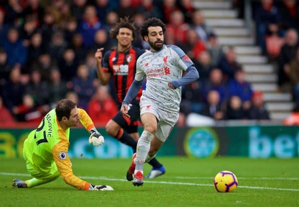 BOURNEMOUTH, ENGLAND - Saturday, December 8, 2018: Liverpool's Mohamed Salah on his way scoring the fourth goal, completing his hat-trick, during the FA Premier League match between AFC Bournemouth and Liverpool FC at the Vitality Stadium. (Pic by David Rawcliffe/Propaganda)