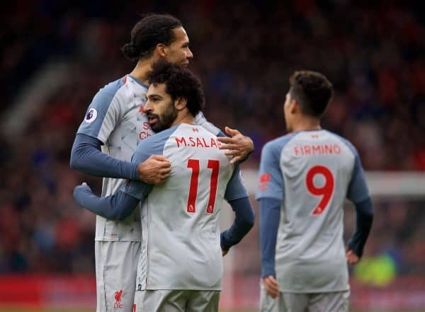 BOURNEMOUTH, ENGLAND - Saturday, December 8, 2018: Liverpool's Mohamed Salah celebrates scoring the fourth goal with team-mate Virgil van Dijk during the FA Premier League match between AFC Bournemouth and Liverpool FC at the Vitality Stadium. (Pic by David Rawcliffe/Propaganda)