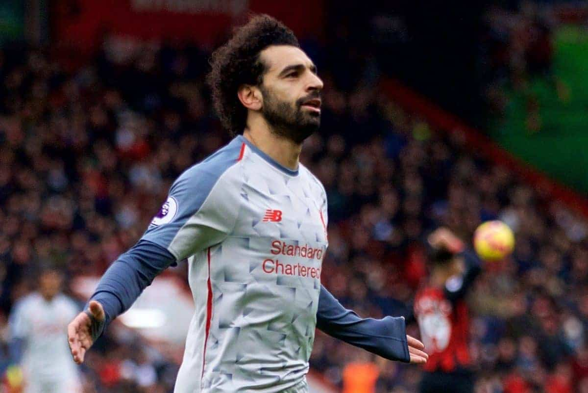 BOURNEMOUTH, ENGLAND - Saturday, December 8, 2018: Liverpool's Mohamed Salah celebrates scoring the fourth goal during the FA Premier League match between AFC Bournemouth and Liverpool FC at the Vitality Stadium. (Pic by David Rawcliffe/Propaganda)