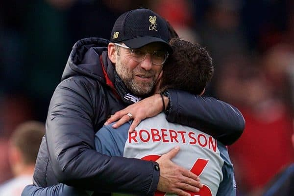 BOURNEMOUTH, ENGLAND - Saturday, December 8, 2018: Liverpool's manager J¸rgen Klopp embraces Andy Robertson after the 4-0 victory over AFC Bournemouth during the FA Premier League match between AFC Bournemouth and Liverpool FC at the Vitality Stadium. Liverpool won 4-0. (Pic by David Rawcliffe/Propaganda)