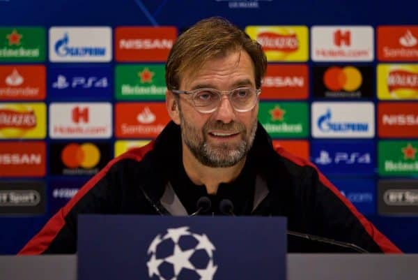 LIVERPOOL, ENGLAND - Monday, December 10, 2018: Liverpool's manager J¸rgen Klopp during a press conference ahead of the UEFA Champions League Group C match between Liverpool FC and SSC Napoli at Anfield. (Pic by David Rawcliffe/Propaganda)