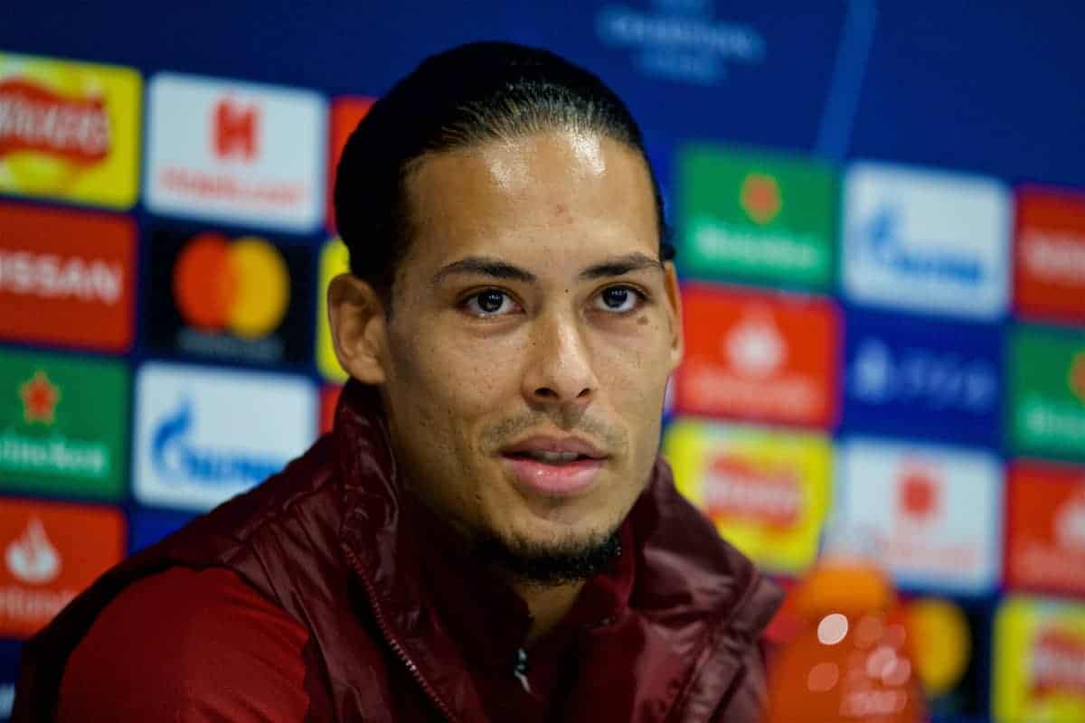 LIVERPOOL, ENGLAND - Monday, December 10, 2018: Liverpool's Virgil van Dijk during a press conference ahead of the UEFA Champions League Group C match between Liverpool FC and SSC Napoli at Anfield. (Pic by David Rawcliffe/Propaganda)
