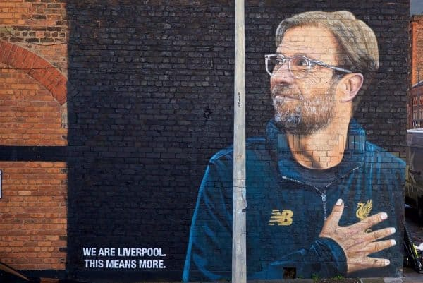 LIVERPOOL, ENGLAND - Monday, December 10, 2018: A street art mural of Liverpool Football Club's Germany manager J¸rgen Klopp, by artist Akse P19, painted on the side of a building in the Baltic Triangle area of Liverpool. (Pic by David Rawcliffe/Propaganda)