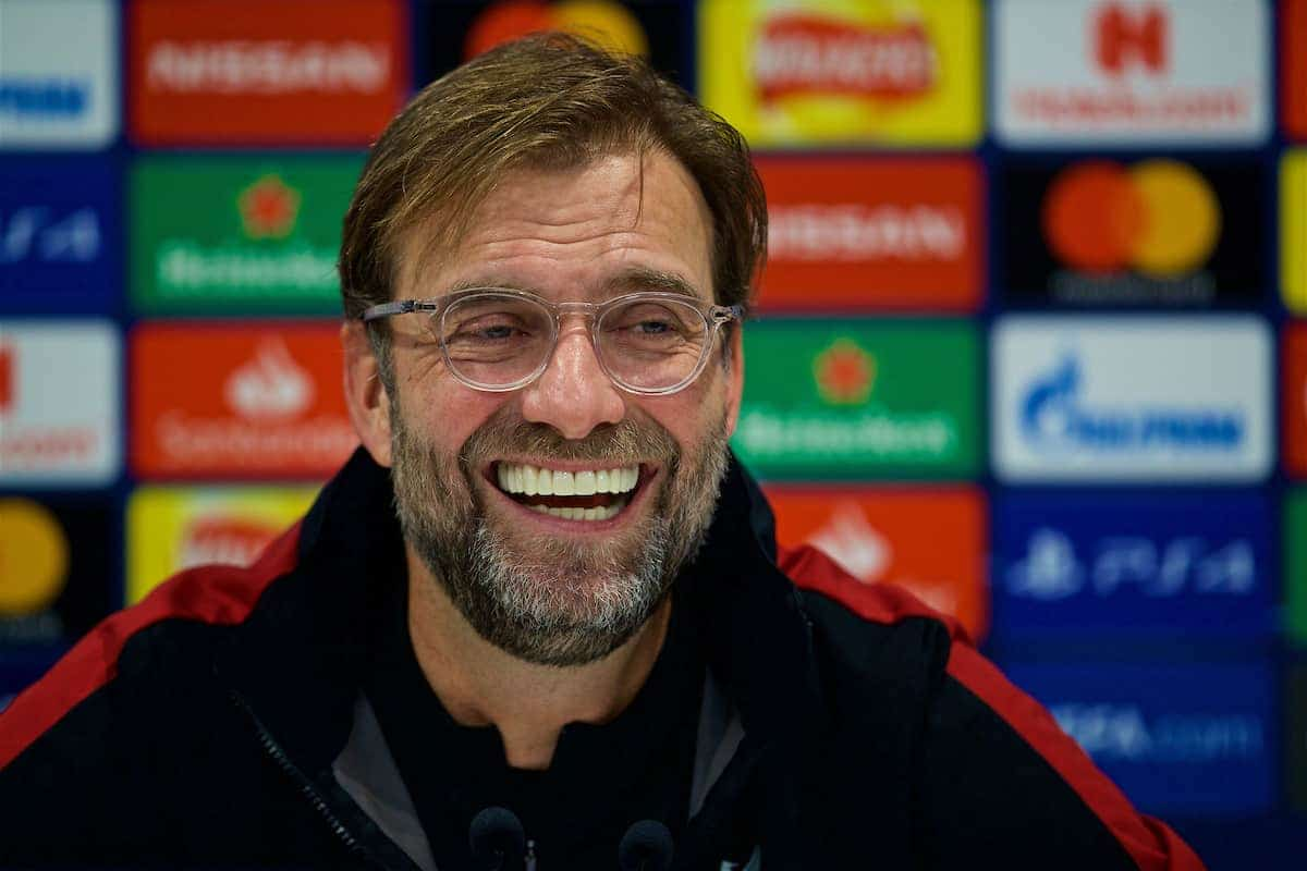 LIVERPOOL, ENGLAND - Monday, December 10, 2018: Liverpool's manager Jürgen Klopp during a press conference ahead of the UEFA Champions League Group C match between Liverpool FC and SSC Napoli at Anfield. (Pic by David Rawcliffe/Propaganda)