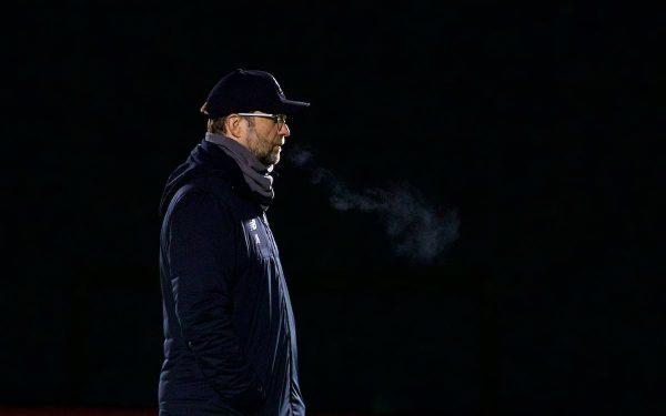 LIVERPOOL, ENGLAND - Monday, December 10, 2018: Liverpool's manager Jürgen Klopp during a training session at Melwood Training Ground ahead of the UEFA Champions League Group C match between Liverpool FC and SSC Napoli. (Pic by David Rawcliffe/Propaganda)