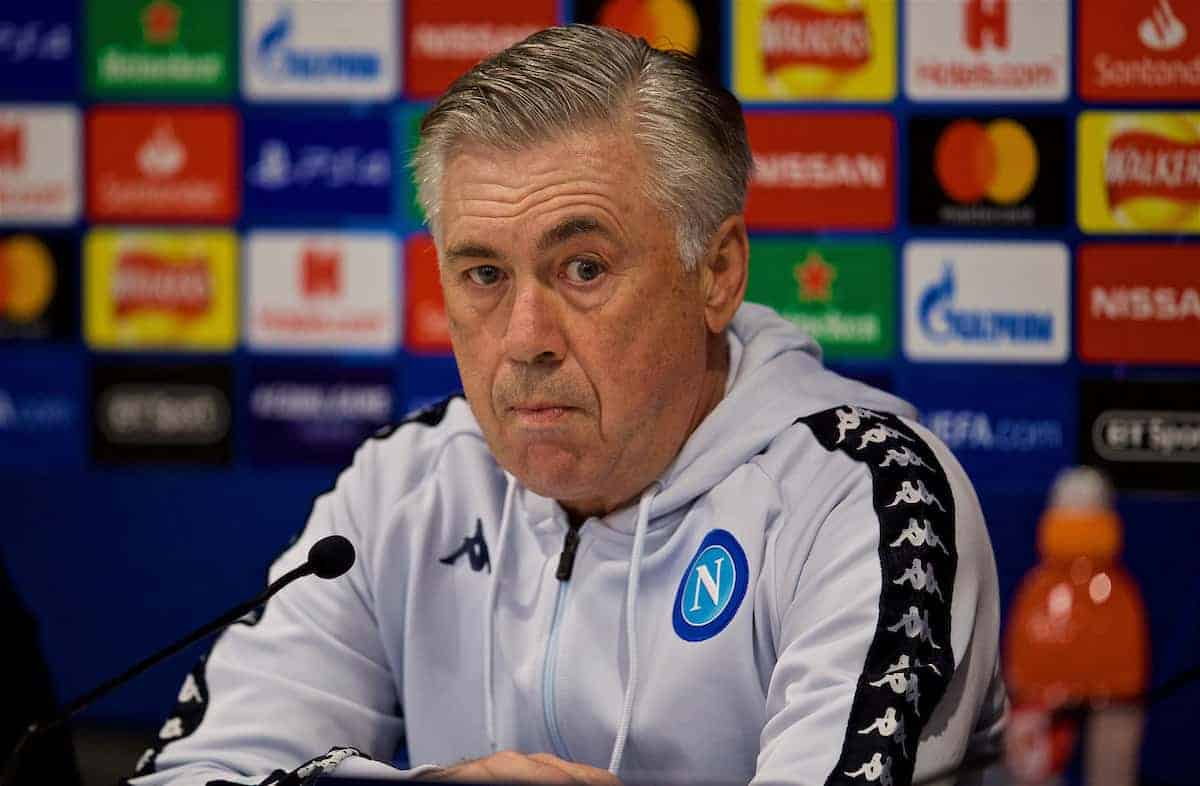 LIVERPOOL, ENGLAND - Monday, December 10, 2018: SSC Napoli's Napoli's head coach Carlo Ancelotti during a press conference ahead of the UEFA Champions League Group C match between Liverpool FC and SSC Napoli at Anfield. (Pic by David Rawcliffe/Propaganda)