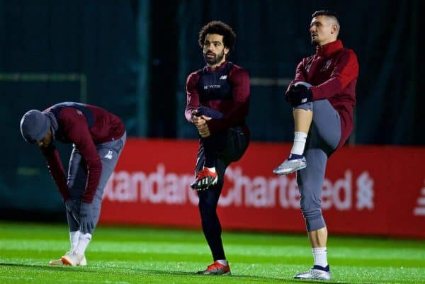 LIVERPOOL, ENGLAND - Monday, December 10, 2018: Liverpool's Mohamed Salah (L) and Dejan Lovren (R) during a training session at Melwood Training Ground ahead of the UEFA Champions League Group C match between Liverpool FC and SSC Napoli. (Pic by David Rawcliffe/Propaganda)