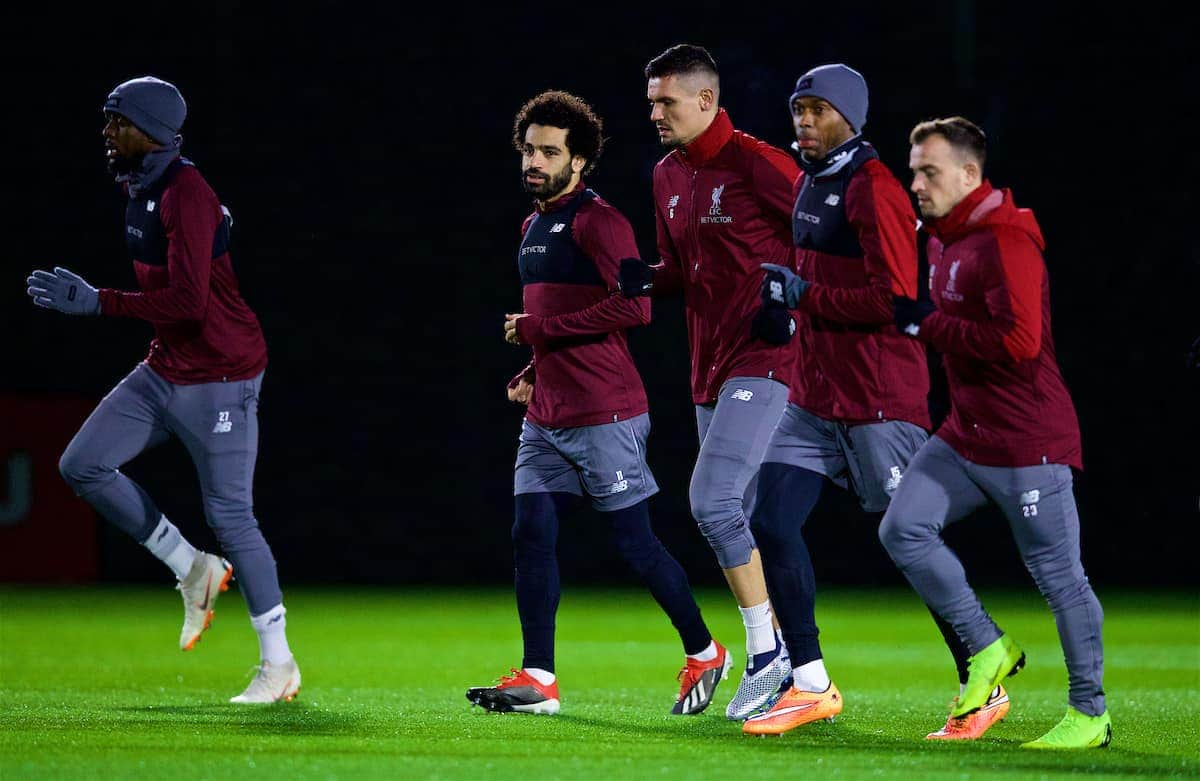 LIVERPOOL, ENGLAND - Monday, December 10, 2018: Liverpool's Mohamed Salah, Dejan Lovren, Daniel Sturridge and Xherdan Shaqiri during a training session at Melwood Training Ground ahead of the UEFA Champions League Group C match between Liverpool FC and SSC Napoli. (Pic by David Rawcliffe/Propaganda)
