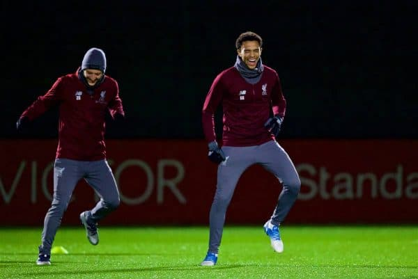 LIVERPOOL, ENGLAND - Monday, December 10, 2018: Liverpool's Adam Lallana (L) and Trent Alexander-Arnold (R) during a training session at Melwood Training Ground ahead of the UEFA Champions League Group C match between Liverpool FC and SSC Napoli. (Pic by David Rawcliffe/Propaganda)