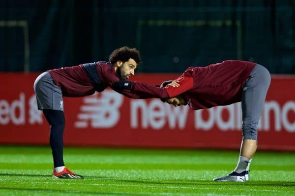 LIVERPOOL, ENGLAND - Monday, December 10, 2018: Liverpool's Mohamed Salah (L) and Dejan Lovren during a training session at Melwood Training Ground ahead of the UEFA Champions League Group C match between Liverpool FC and SSC Napoli. (Pic by David Rawcliffe/Propaganda)