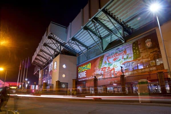 LIVERPOOL, ENGLAND - Tuesday, December 11, 2018: An exterior view of Liverpool's Spion Kop stand - General (Pic by David Rawcliffe/Propaganda)