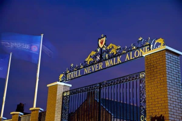 "LIVERPOOL, ENGLAND - Tuesday, December 11, 2018: A view of Liverpool's famous Shankly Gates, featuring ""You'll Never Walk Alone"" General (Pic by David Rawcliffe/Propaganda)"