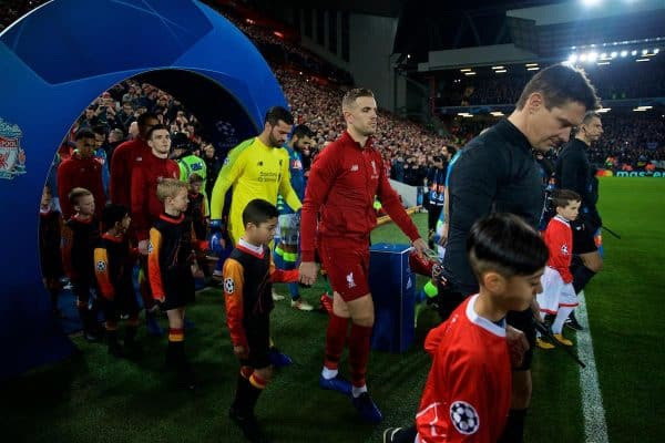 LIVERPOOL, ENGLAND - Tuesday, December 11, 2018: Liverpool's captain Jordan Henderson leads his side out before the UEFA Champions League Group C match between Liverpool FC and SSC Napoli at Anfield. (Pic by David Rawcliffe/Propaganda)