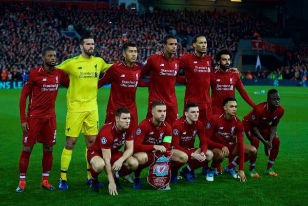 LIVERPOOL, ENGLAND - Tuesday, December 11, 2018: Liverpool's players line-up for a team group photograph before the UEFA Champions League Group C match between Liverpool FC and SSC Napoli at Anfield. Back row L-R: Georginio Wijnaldum, goalkeeper Alisson Becker, Roberto Firmino, Joel Matip, Virgil van Dijk, Mohamed Salah. Front row L-R: James Milner, captain Jordan Henderson, Andy Robertson, Trent Alexander-Arnold, Sadio Mane. (Pic by David Rawcliffe/Propaganda)