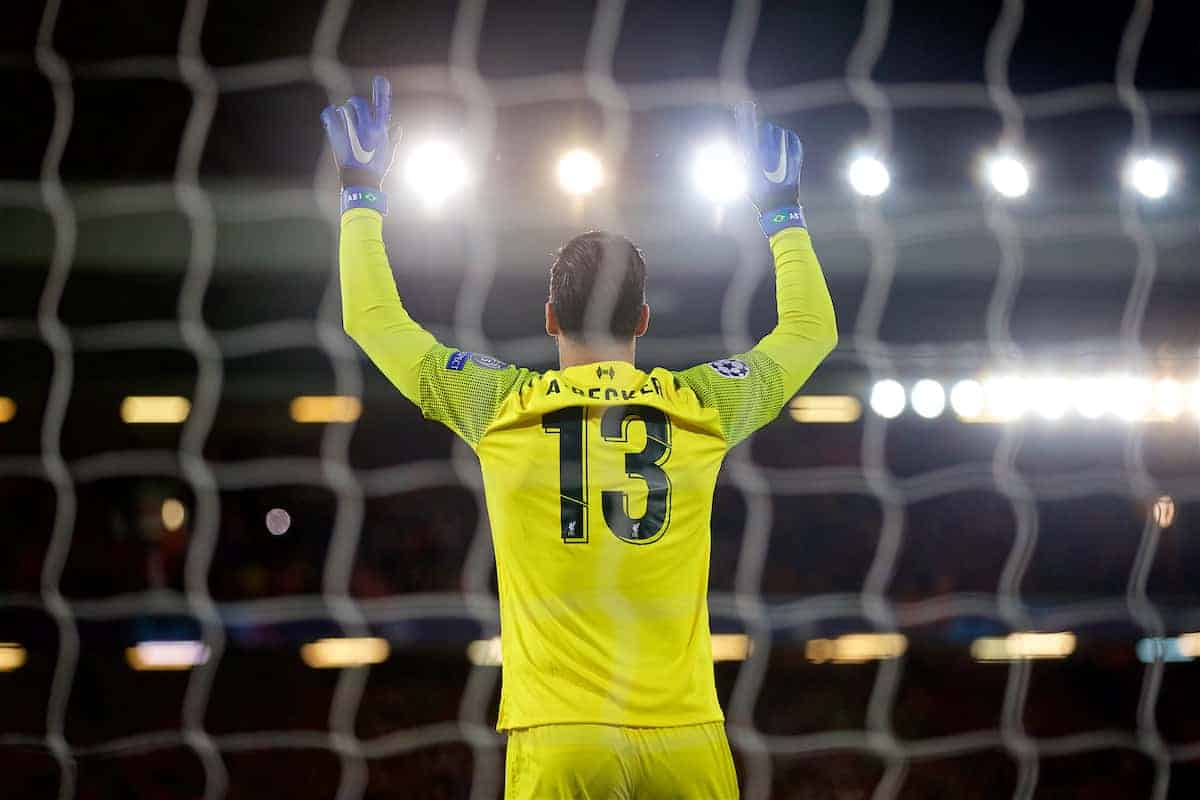 LIVERPOOL, ENGLAND - Tuesday, December 11, 2018: Liverpool's goalkeeper Alisson Becker before the UEFA Champions League Group C match between Liverpool FC and SSC Napoli at Anfield. (Pic by David Rawcliffe/Propaganda)