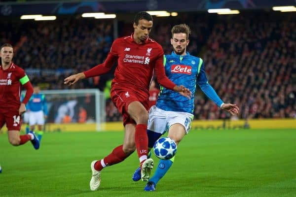LIVERPOOL, ENGLAND - Tuesday, December 11, 2018: Liverpool's Joel Matip (L) and SSC Napoli's Fabián Ruiz during the UEFA Champions League Group C match between Liverpool FC and SSC Napoli at Anfield. (Pic by David Rawcliffe/Propaganda)