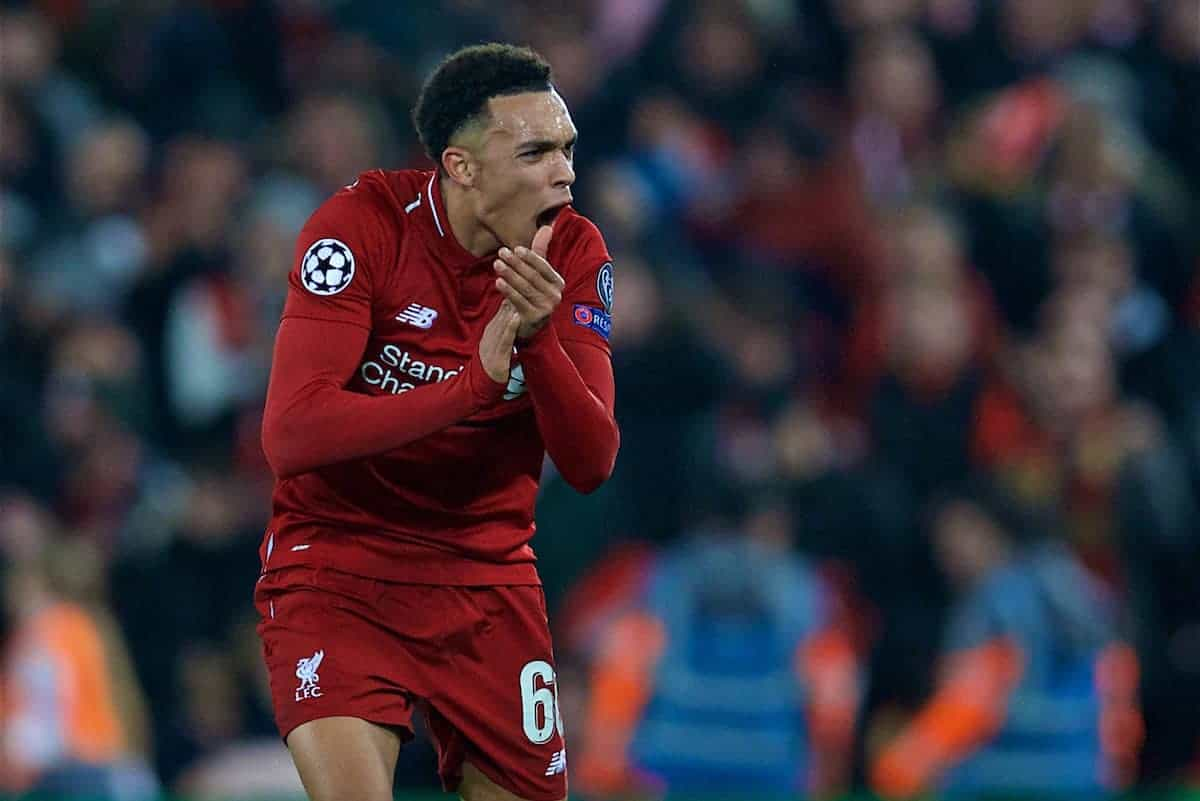 LIVERPOOL, ENGLAND - Tuesday, December 11, 2018: Liverpool's Trent Alexander-Arnold urges the crowd on during the UEFA Champions League Group C match between Liverpool FC and SSC Napoli at Anfield. (Pic by David Rawcliffe/Propaganda)