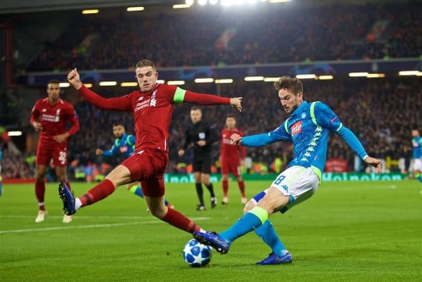 Liverpool's captain Jordan Henderson (L) and Napoli's Fabián Ruiz during the UEFA Champions League Group C match between Liverpool FC and SSC Napoli at Anfield. (Pic by David Rawcliffe/Propaganda)