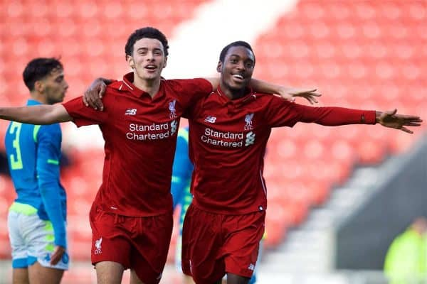 Liverpool's Rafael Camacho (R) celebrates scoring the first goal with team-mate Curtis Jones during the UEFA Youth League Group C match between Liverpool FC and SSC Napoli at Langtree Park. (Pic by David Rawcliffe/Propaganda)