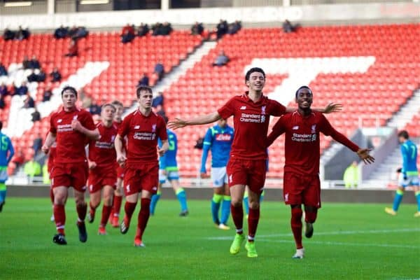 ST HELENS, ENGLAND - Monday, December 10, 2018: Liverpool's Rafael Camacho (R) celebrates scoring the first goal with team-mate Curtis Jones during the UEFA Youth League Group C match between Liverpool FC and SSC Napoli at Langtree Park. (Pic by David Rawcliffe/Propaganda)