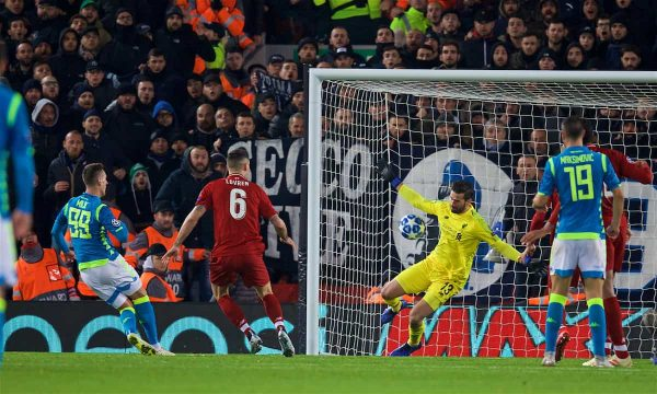 Liverpool's goalkeeper Alisson Becker makes an injury time save from Napoli's Arkadiusz Milik during the UEFA Champions League Group C match between Liverpool FC and SSC Napoli at Anfield. (Pic by David Rawcliffe/Propaganda)