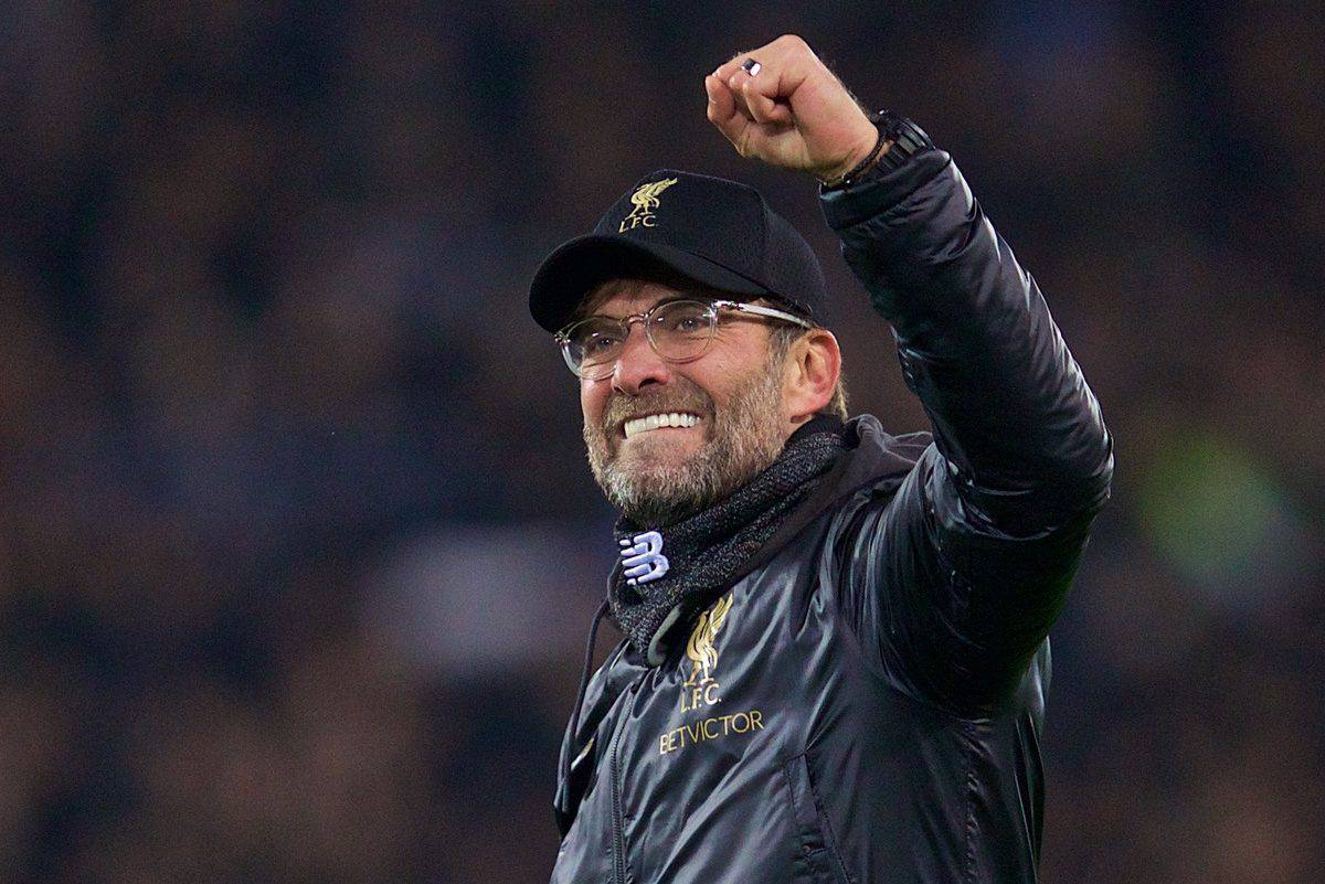 LIVERPOOL, ENGLAND - Tuesday, December 11, 2018: Liverpool's manager J¸rgen Klopp celebrates after beating SSC Napoli 1-0 and progressing to the knock-out phase during the UEFA Champions League Group C match between Liverpool FC and SSC Napoli at Anfield. (Pic by David Rawcliffe/Propaganda)