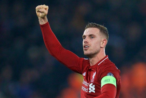 Liverpool's captain Jordan Henderson celebrates after beating SSC Napoli 1-0 and progressing to the knock-out phase during the UEFA Champions League Group C match between Liverpool FC and SSC Napoli at Anfield. (Pic by David Rawcliffe/Propaganda)