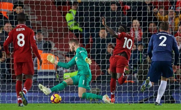LIVERPOOL, ENGLAND - Sunday, December 16, 2018: Liverpool's Sadio Mane scores the first goal past Manchester United's goalkeeper David de Gea during the FA Premier League match between Liverpool FC and Manchester United FC at Anfield. (Pic by David Rawcliffe/Propaganda)
