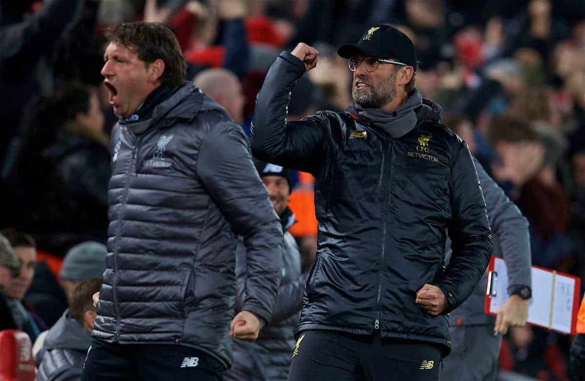 LIVERPOOL, ENGLAND - Sunday, December 16, 2018: Liverpool's manager Jürgen Klopp celebrates the opening goal during the FA Premier League match between Liverpool FC and Manchester United FC at Anfield. (Pic by David Rawcliffe/Propaganda)
