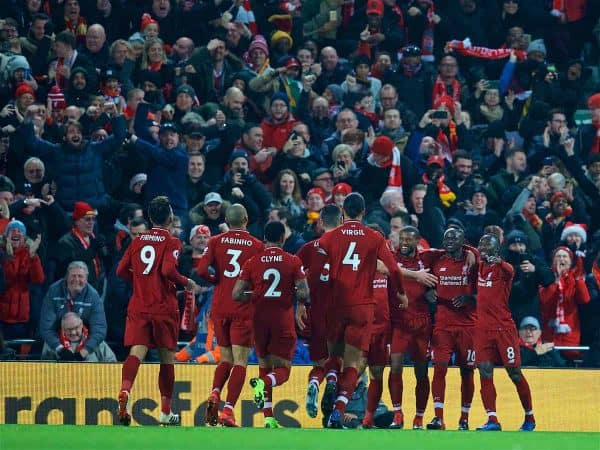 LIVERPOOL, ENGLAND - Sunday, December 16, 2018: Liverpool's Sadio Mane (2nd from R) celebrates scoring the first goal with team-mates during the FA Premier League match between Liverpool FC and Manchester United FC at Anfield. (Pic by David Rawcliffe/Propaganda)