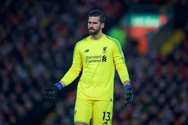 LIVERPOOL, ENGLAND - Sunday, December 16, 2018: Liverpool's goalkeeper Alisson Becker during the FA Premier League match between Liverpool FC and Manchester United FC at Anfield. (Pic by David Rawcliffe/Propaganda)