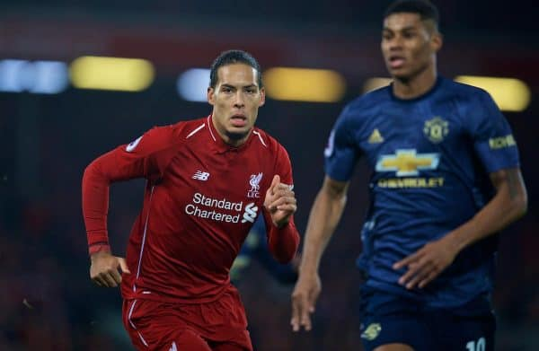 LIVERPOOL, ENGLAND - Sunday, December 16, 2018: Liverpool's Virgil van Dijk during the FA Premier League match between Liverpool FC and Manchester United FC at Anfield. (Pic by David Rawcliffe/Propaganda)