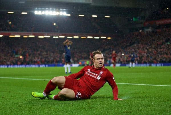 LIVERPOOL, ENGLAND - Sunday, December 16, 2018: Liverpool's Xherdan Shaqiri celebrates scoring the second goal during the FA Premier League match between Liverpool FC and Manchester United FC at Anfield. (Pic by David Rawcliffe/Propaganda)