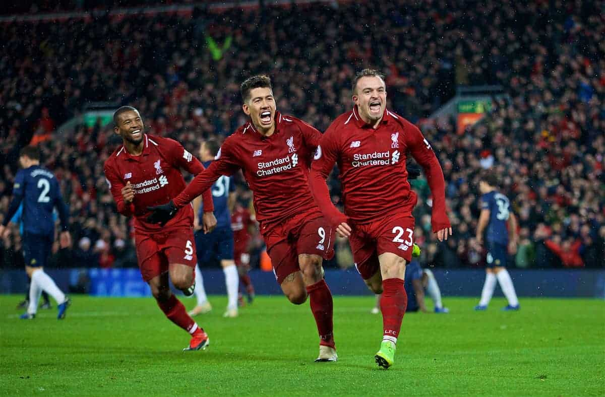 LIVERPOOL, ENGLAND - Sunday, December 16, 2018: Liverpool's 23' celebrates scoring the third goal during the FA Premier League match between Liverpool FC and Manchester United FC at Anfield. (Pic by David Rawcliffe/Propaganda)