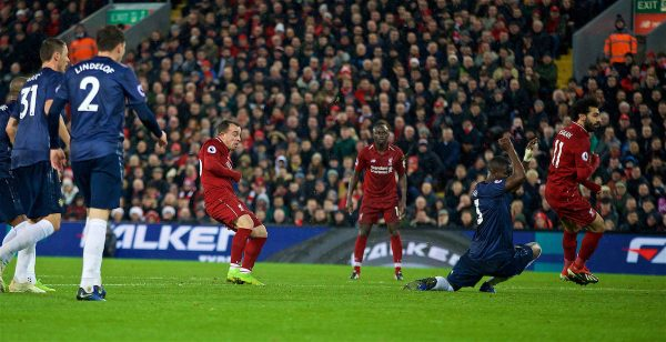LIVERPOOL, ENGLAND - Sunday, December 16, 2018: Liverpool's Xherdan Shaqiri scores the third goal during the FA Premier League match between Liverpool FC and Manchester United FC at Anfield. (Pic by David Rawcliffe/Propaganda)c