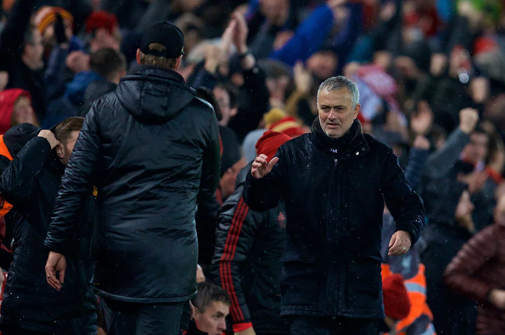 LIVERPOOL, ENGLAND - Sunday, December 16, 2018: Manchester United's manager Jose Mourinho goes to shake hands with Liverpool's manager J¸rgen Klopp after the FA Premier League match between Liverpool FC and Manchester United FC at Anfield. Liverpool won 3-1. (Pic by David Rawcliffe/Propaganda)