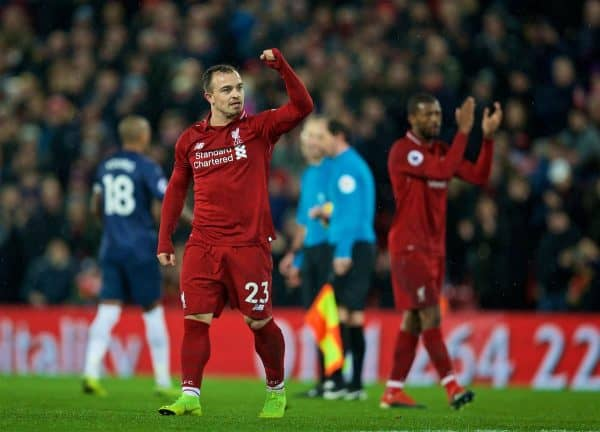LIVERPOOL, ENGLAND - Sunday, December 16, 2018: Liverpool's two-goal hero Xherdan Shaqiri celebrates after the FA Premier League match between Liverpool FC and Manchester United FC at Anfield. Liverpool won 3-1. (Pic by David Rawcliffe/Propaganda)