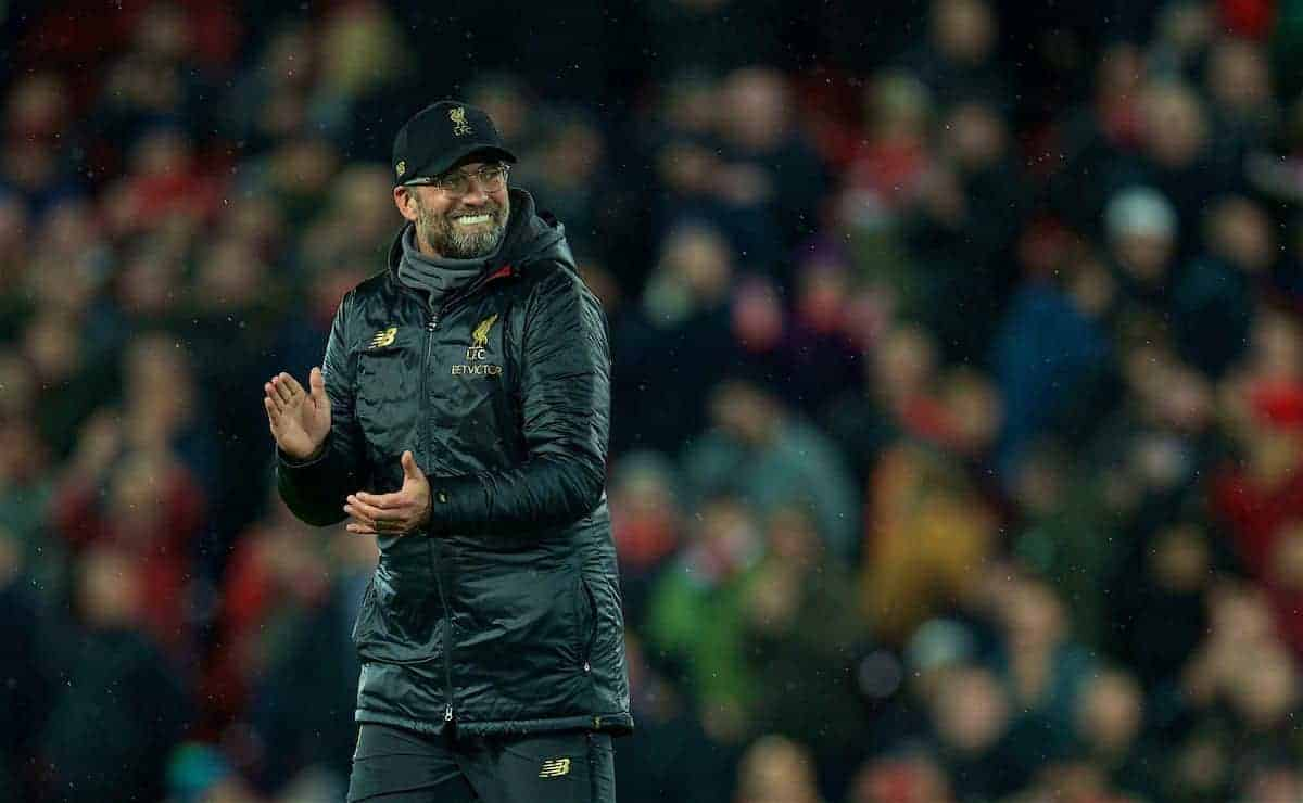 LIVERPOOL, ENGLAND - Sunday, December 16, 2018: Liverpool's manager Jürgen Klopp celebrates after the FA Premier League match between Liverpool FC and Manchester United FC at Anfield. Liverpool won 3-1. (Pic by David Rawcliffe/Propaganda)