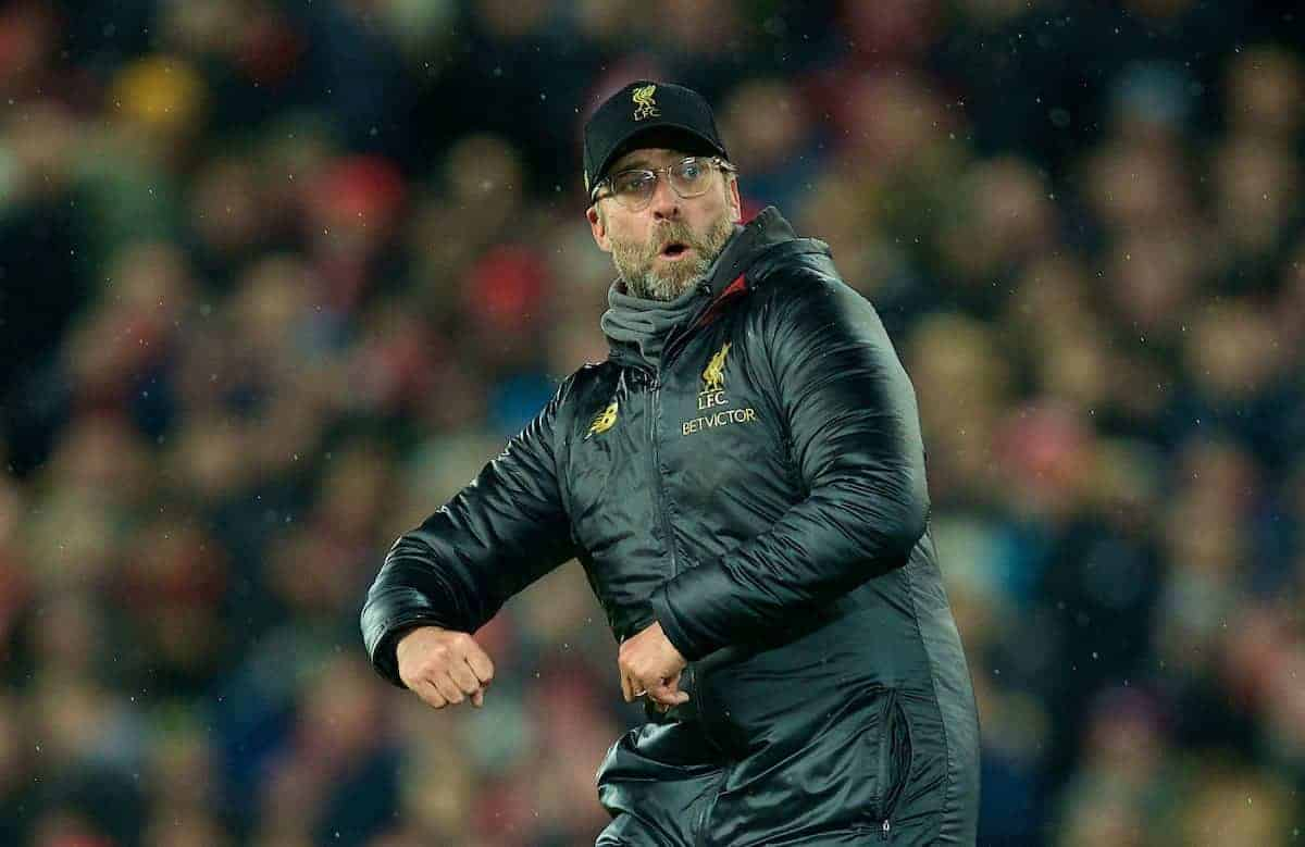 LIVERPOOL, ENGLAND - Sunday, December 16, 2018: Liverpool's manager J¸rgen Klopp celebrates after the FA Premier League match between Liverpool FC and Manchester United FC at Anfield. Liverpool won 3-1. (Pic by David Rawcliffe/Propaganda)