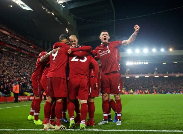 LIVERPOOL, ENGLAND - Sunday, December 16, 2018: Liverpool's Xherdan Shaqiri (#23) celebrates scoring the third goal with team-mates Virgil van Dijk, Fabio Henrique Tavares 'Fabinho' and Dejan Lovren during the FA Premier League match between Liverpool FC and Manchester United FC at Anfield. (Pic by David Rawcliffe/Propaganda)