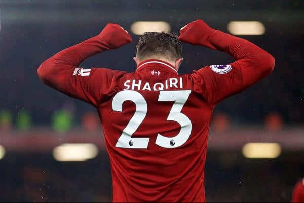 LIVERPOOL, ENGLAND - Sunday, December 16, 2018: Liverpool's Xherdan Shaqiri celebrates scoring the third goal during the FA Premier League match between Liverpool FC and Manchester United FC at Anfield. (Pic by David Rawcliffe/Propaganda)