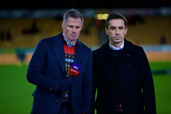 WOLVERHAMPTON, ENGLAND - Friday, December 21, 2018: Former Liverpool player Jamie Carragher and former Manchester United player Gary Neville working for Sky Sports before the FA Premier League match between Wolverhampton Wanderers FC and Liverpool FC at Molineux Stadium. (Pic by David Rawcliffe/Propaganda)