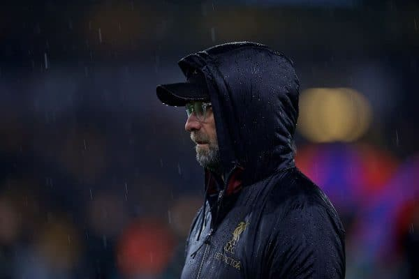 WOLVERHAMPTON, ENGLAND - Friday, December 21, 2018: Liverpool's manager Jürgen Klopp before the FA Premier League match between Wolverhampton Wanderers FC and Liverpool FC at Molineux Stadium. (Pic by David Rawcliffe/Propaganda)