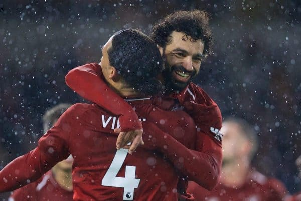 WOLVERHAMPTON, ENGLAND - Friday, December 21, 2018: Liverpool's Mohamed Salah celebrates scoring the first goal during the FA Premier League match between Wolverhampton Wanderers FC and Liverpool FC at Molineux Stadium. (Pic by David Rawcliffe/Propaganda)