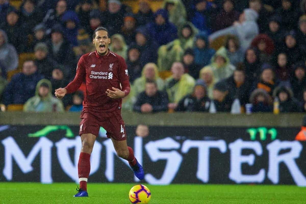 WOLVERHAMPTON, ENGLAND - Friday, December 21, 2018: Monster... Liverpool's Virgil van Dijk during the FA Premier League match between Wolverhampton Wanderers FC and Liverpool FC at Molineux Stadium. (Pic by David Rawcliffe/Propaganda)
